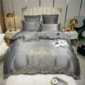 Bedding set 4pcs Silk cotton embroidery duvet cover flat sheet 2 pillowcases set