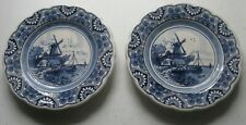 VERY OLD PAIR OF WINDMILL DELFT PLATES HAND PAINTED & NUMBERED GREAT CONDITION