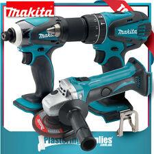Makita 18V LXT Cordless Angle Grinder + Impact Driver + Hammer Driver Drill Set