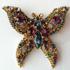 VINTAGE WEISS SIGNED PURPLE GREEN & BLUE RHINESTONE FIGURAL BUTTERFLY BROOCH