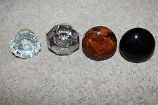 Lot of 4 Antique Door Knobs Crystal Glass Tiger Eye Swirl Marble Black Porcelain