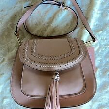 Nwt 88 Franco Sarto Crossbody Bag Saddle Blush Pink Tinsel Fringe Medium