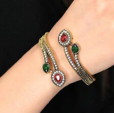 RED GREEN CRYSTAL CUFF BANGLE WRAP BRACELET