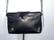 Givenchy Paris Classic Vintage Black Leather Crossbody Clutch Bag Purse