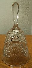 "EAPG Hobstar Clear Glass Hand Bell 6.75"" Tall EXC!"