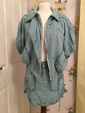 ZARA BLUE COTTON STRIPED CASUAL JACKET & SKIRT OUTFIT – SIZE SMALL