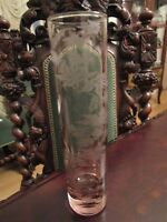 """GORGEOUS PINK GLASS ETCHED FLOWER VASE 7 1/2 X 1 1/2"""" [*A]"""