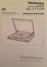 Technics Turntable System SL-J110R Operating Instruction - USER MANUAL -  Hifi