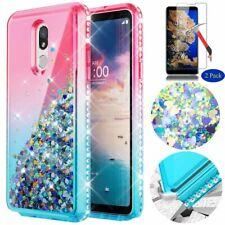 For LG Stylo 5 Plus/Q720CS Case Rubber Liquid Glitter TPU Cover+Screen Protector