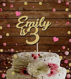 Custom birthday cake topper, any age name glitter card decoration, 1st,2nd,3rd