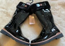 Baker by Ted Baker Black Faux Patent Fur Girls Tall Boots Size 11 UK (29)