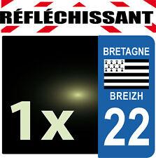 DEPARTEMENT 22 rétro-réfléchissant Plaque Auto 1 sticker autocollant reflectif
