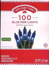 BLUE MINI LIGHTS *100 CT* STEADY OR BLINKING / HOLIDAYS / PARTIES ~ 23 FT ~ NEW