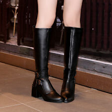Size 34-43 Womens Mid Calf Knee High Knight Boots Riding Military Combat Shoes