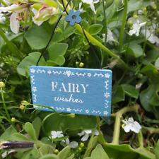 Blue Wooden Fairy Wishes Rustic Mini Plaque