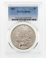 1887 $1 Silver Morgan Dollar Graded by PCGS as MS-64