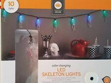 Halloween LED Skeleton Color Changing green blue 10 LED Lights Party Skulls