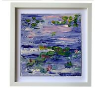 Framed Original oil painting art on canvas Waterlilies impressionism home decor
