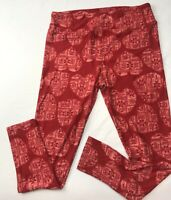 Tall Curvy Lularoe Htf Rare Unicorn Heart Red Aztec Pants