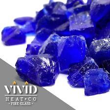 """VIVID COBALT BLUE 1/2"""" - 3/4"""" Large Fireplace Fire Pit Fireglass Glass Crystals"""