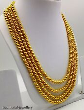 AMAZING 22K GOLD BALL 4 LINE STRING BEADS NECKLACE WEDDING ANNIVERSARY NECKLACE