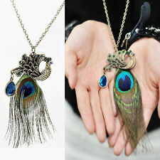 Vintage Art Deco Crystal Rhinestone Feather Pendant Long Chain Peacock Necklace