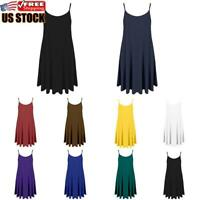 US Women's Ladies Camisole Cami Flared Skater Strappy Vest Top Swing Mini Dress