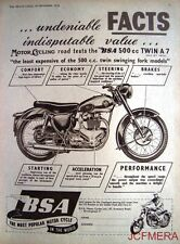 1954 Motor Cycle ADVERT - B.S.A. '500cc Twin A7' Print AD