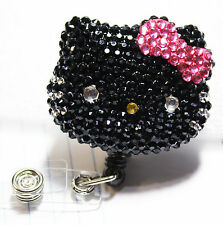 Hello Kitty Bling Retractable ID Badge Holder_ Black w/ Pink Bow