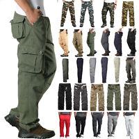 Men Combat Military Army Work Cargo Trousers Sweatpant Multi Pocket Pants Hiking