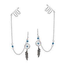 Unique Dreamcatcher & Ear Cuff Chain w/ Blue Turquoise Stone Dangle Earrings