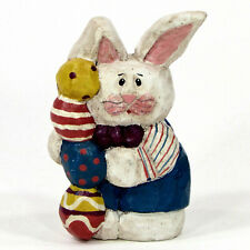 """Midwest of Cannon Falls Bunny Rabbit 4"""" Figurine Easter Eggs Stack Eddie Walker"""