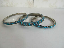 Set of 3 Bangle Bracelets Made in India Aqua in Color with Jewel Adornments