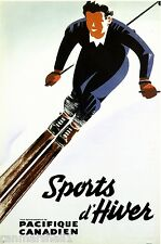 1940 Ski Winter Vintage Canada Canadian Pacific Travel Advertisement Art Poster