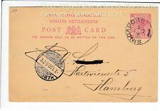 SINGAPORE , POSTAL STATIONARY 3 CENT , 1899 / Q