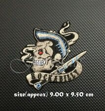 Rockabilly Rock And Roll Skull Patch Sew On Iron Embroidered Retro Music Styles