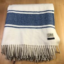"LL BEAN PENDLETON Wool Blanket Cream Blue Striped Fringed 51"" X 59"" Throw EUC!"