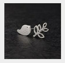3D 925 Sterling silver Bird Tree Branch animal stud earrings Gift box party AJ