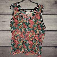 Derek Heart Sleeveless Plus Size Sheer Floral Tank Top Size 2X Blouse Tropical