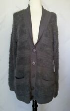 Evolution by Cyrus Cardigan Sweater Medium Charcoal Grey Gray Cable Knit Fuzzy M