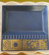 "Georges Briard Midas by Hyalyn Blue & Gold Ashtray 10"""