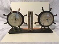 Vintage Copper And Brass Nautical Weather Station  Thermometer, Barometer