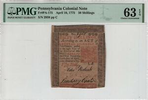 APRIL 10 1775 50 SHILLINGS PENNSYLVANIA COLONIAL NOTE PA-175 PMG CU 63 EPQ (009)