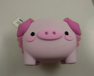 Coin change purse pouch rubber When pigs fly wings pink cute