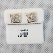 10k Oro Micro-Pavè Diamanti Taglio Quadrato Bottone