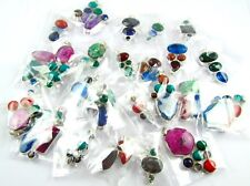 200 PCS 3000 GRAM 925 SILVER PLATED OVERLAY CLUSTER STONE PENDANT WHOLESALE LOTS