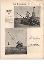 1900's PAPER AD Steam Engine Portable Derrick Truck Mount Crane Steel Timber