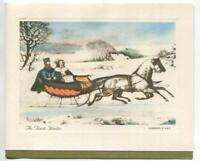 VINTAGE CHRISTMAS VICTORIAN SLEIGH RIDE GIRL FUR MUFF HORSES SNOW GREETING CARD