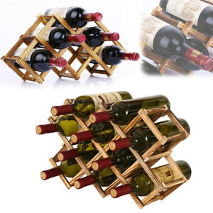 6/10 Bottle Wooden Wine Rack Tabletop Bottle Holder Champagne Storage Stand