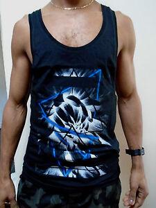 Mens Black Muscle Racerback Vest Gym Top T Shirt Festival Low Scoop Neck Summer